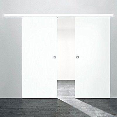 2 flügelige Holz-Schiebetür Raumteiler 1700x2035mm Holz Weiß - schiebetüren für badezimmer