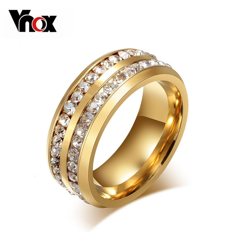 Vnox Two Row Crystal Ring for Women Gold Plated Stainless Steel ...