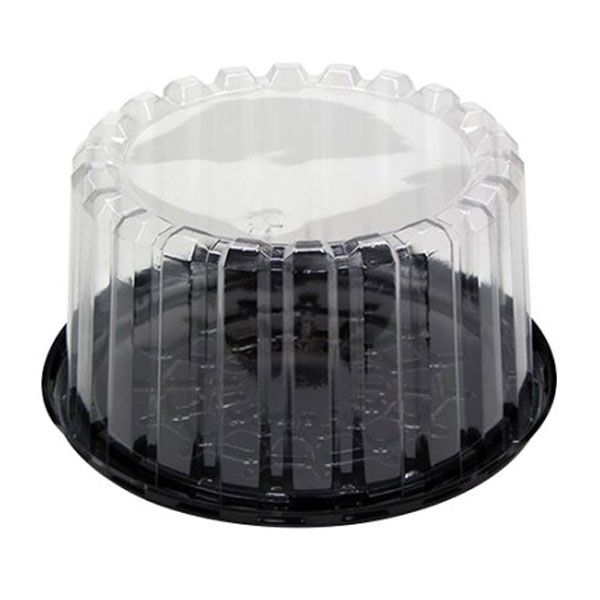 """BLACK PLASTIC CAKE BOXES WITH CLEAR PLASTIC LIDS FOR UP TO 10/"""" DIAMETER CAKES"""