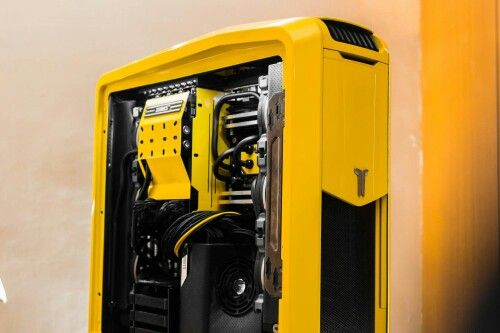 Yellow Computer Tower Rig Pc Liquid Cooling Computer Tower