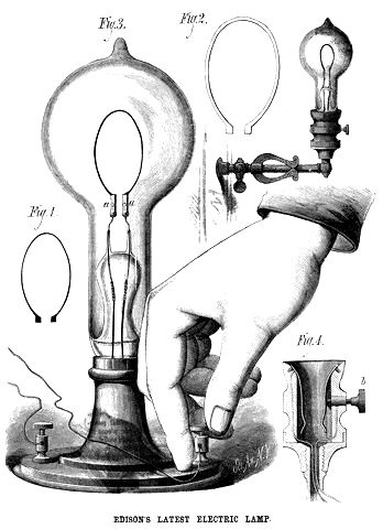 In 1879, Thomas Edison Invented The Electric Light Bulb. This Is A Drawn  Image Ad For An Edison Lamp.
