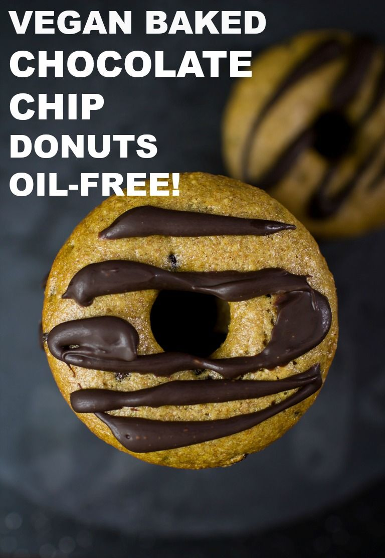 These Easy Vegan Baked Chocolate Chip Donuts are so light, fluffy and easy to make! They are just 8 ingredients, made in 1 bowl, are oil-free! #vegan #donuts