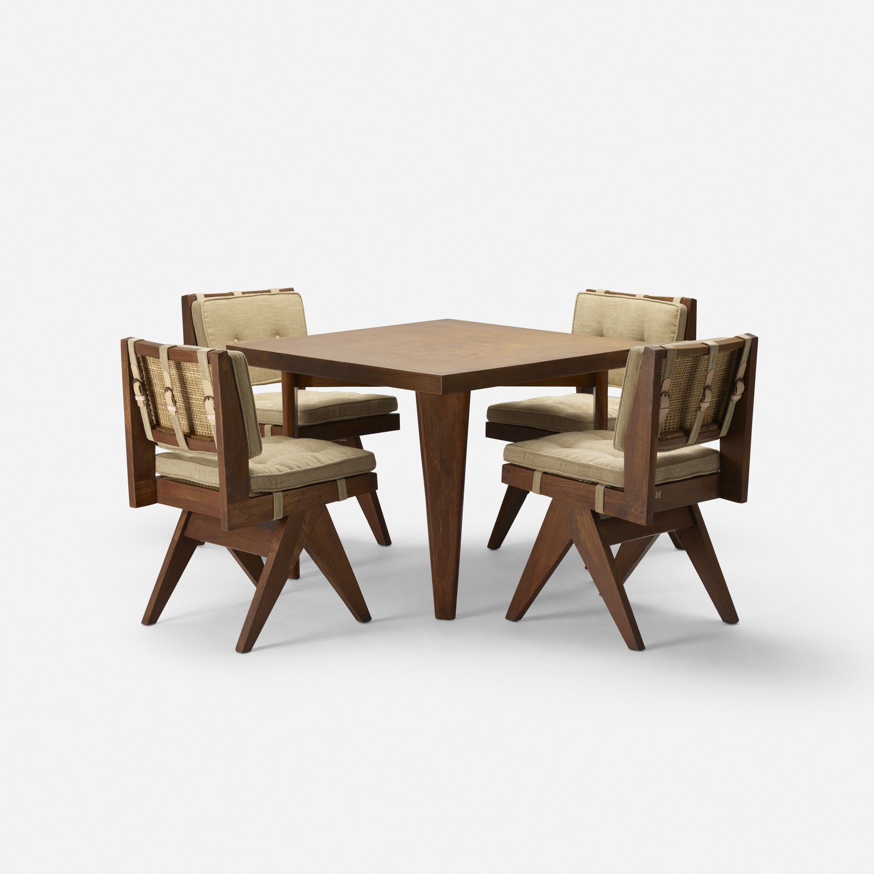 Pierre Jeanneret Cafeteria Table And Four Chairs From Chandigarh