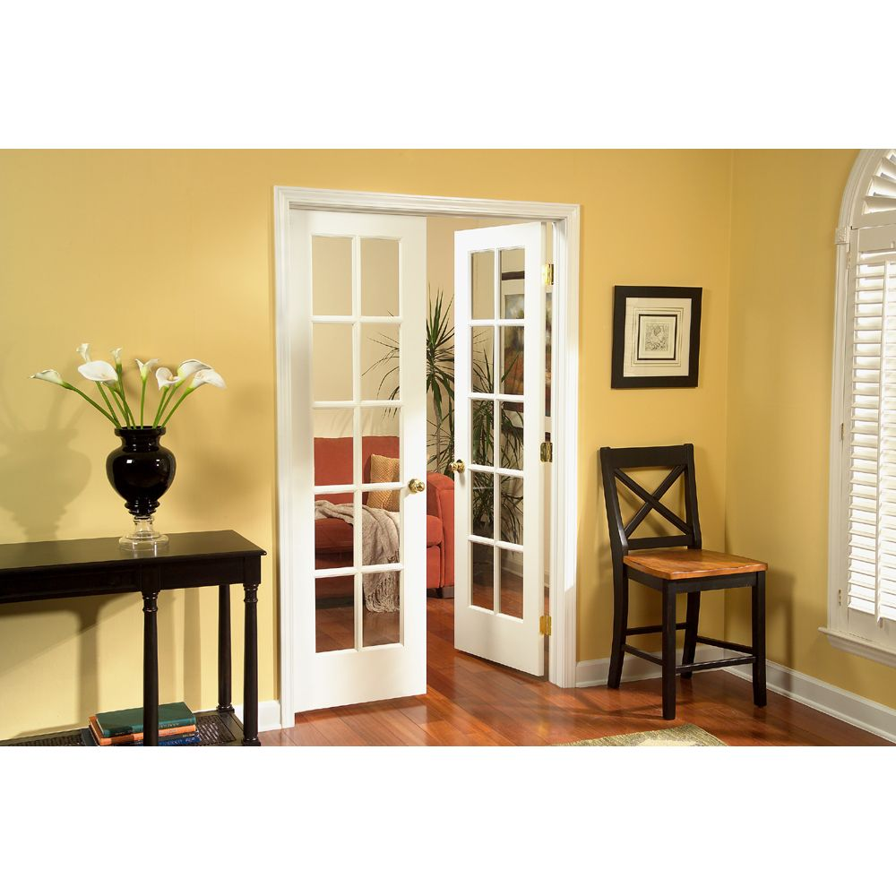 General lite pine interior french door unit at lowes for Small double french doors