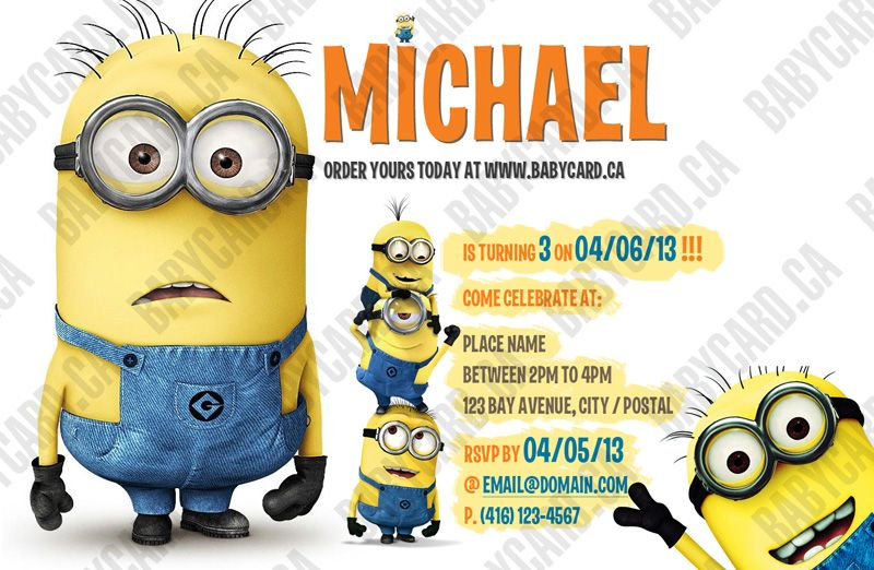 Babycardca Despicable me theme custom birthday card – Minion Happy Birthday Card