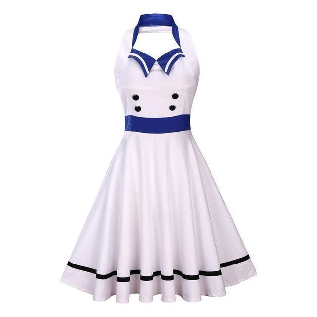e09b5aa70ec Rockabilly halter swing dress with buttons on topSilhouette   A-LineNeckline  HalterMaterial  Spandex