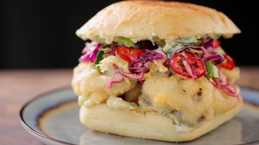 Guy S Tempura Mushroom Burger With Guy Fieri In 2020 Food