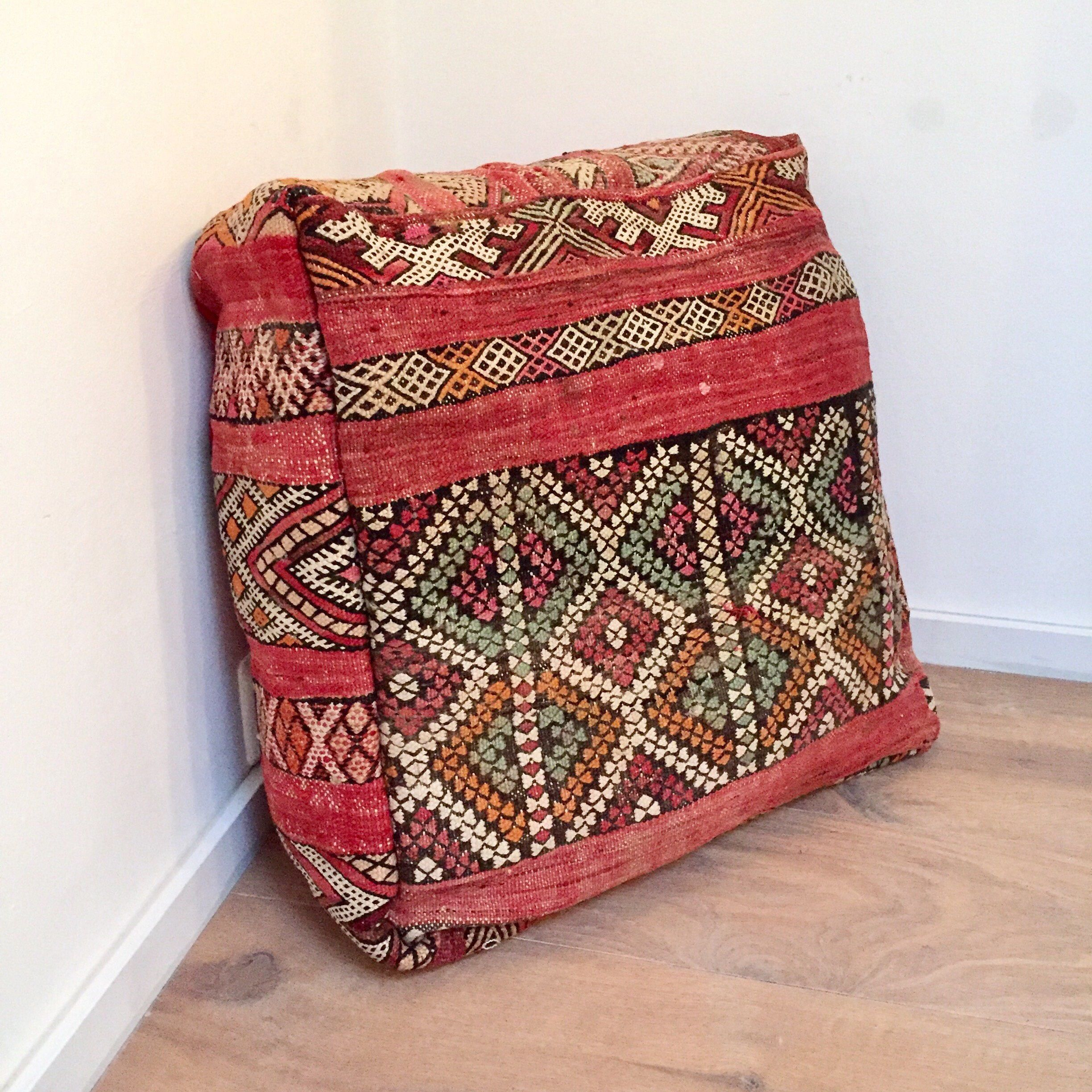 Big floor pillow handmade moroccan poof wool kilim xxcm