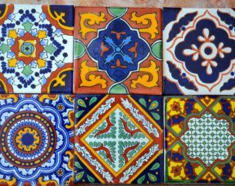"""9 Mexican Talavera Tiles. Hand madeHand painted 4 """"X 4"""