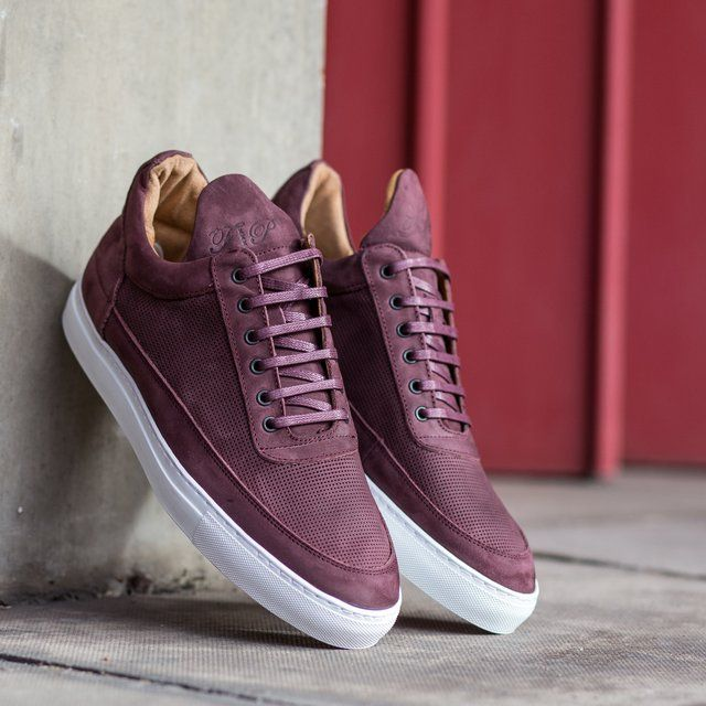 Burgundy Low Top Perforated Leather Sneakers by Filling Pieces