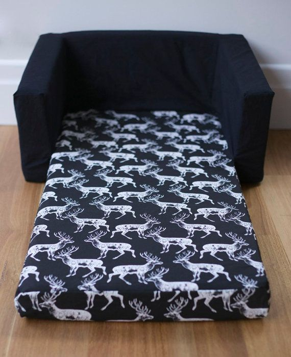 Sofa Cover Kids Flip Out Sofa Cover White on Black Deer by heytherelila