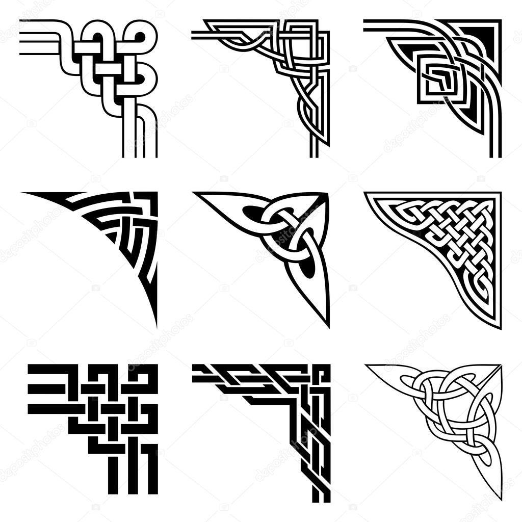 Pobierz Stockowy Obraz Wektorowy Zestaw Ozdobnych Rogi W Celtic