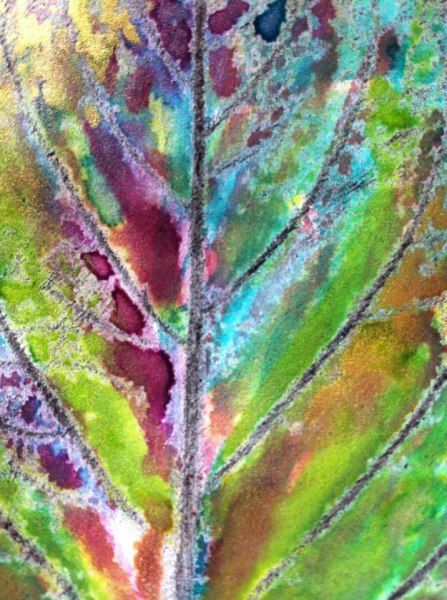 Leaf pressing, Watercolor wax resist by Laurel Check. Rainbow detail - the trodden path