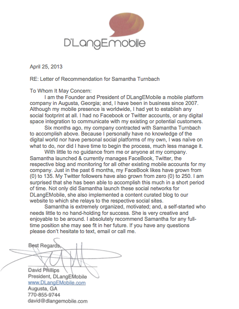 letter of recommendation from past employer dlangemobile upon my leave for future opportunities