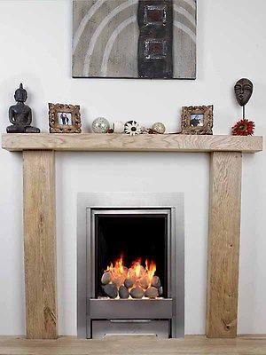 Solid Oak Beam Fire Surround Mantelpiece Bespoke Fireplace Living