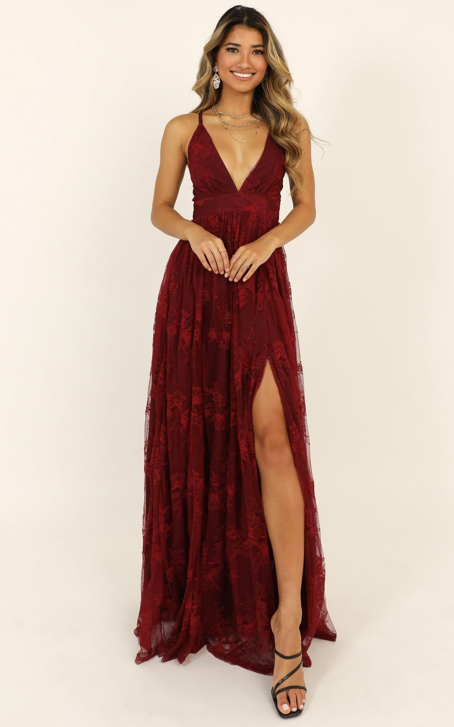 Prom Loving Dress In Wine Lace Showpo Dresses Prom Dresses Stunning Bridesmaid Dresses [ 2500 x 1562 Pixel ]