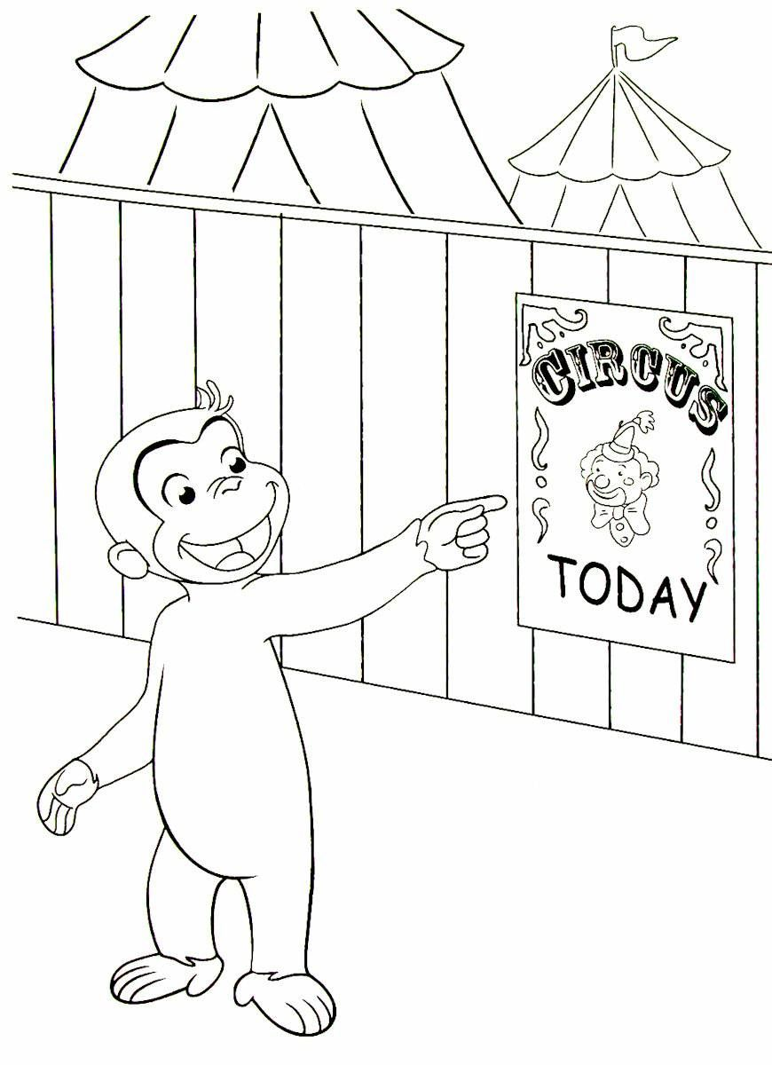 Curious George going to the circus printable coloring book page ...