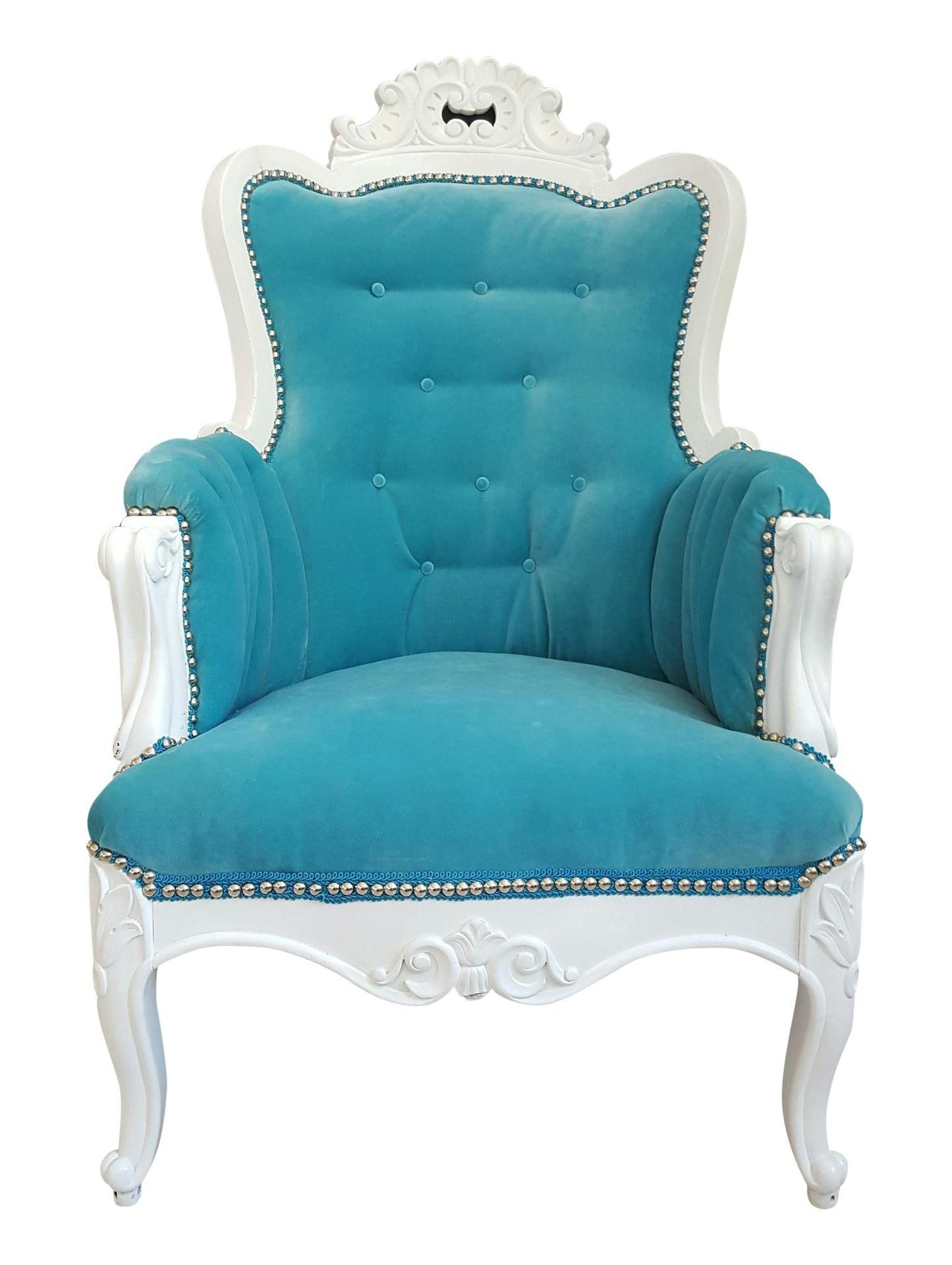 Antique Turquoise Velvet Accent Chair