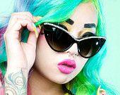 Lilac Sparkles Cat Eye Sunglasses Accessory by Cutie Dynamite Sunnies Cute Kawaii Lolita Retro.