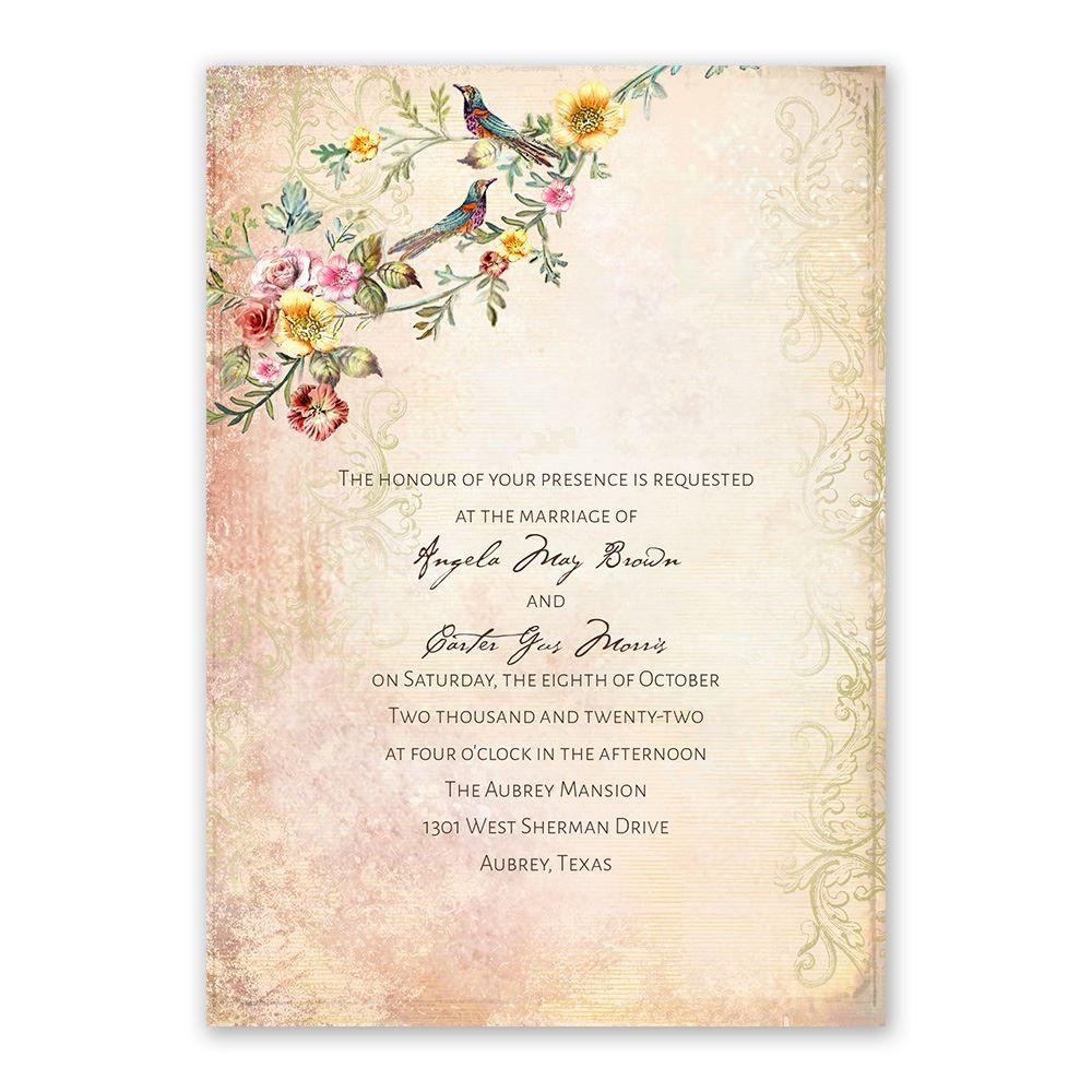 Vintage Birds Wedding Invitation Ann S Bridal Bargains Bird Wedding Invitations Country Wedding Invitations Wording Country Wedding Invitations