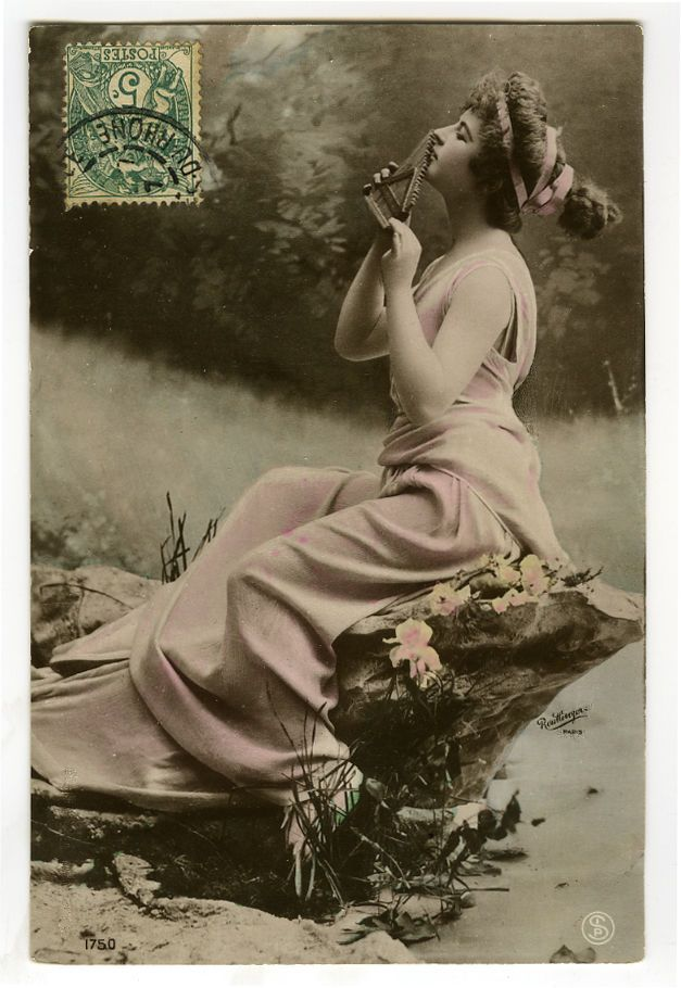 C 1907 Idyllic Musical Beauty Music Art Nouveau Photo Postcard | eBay