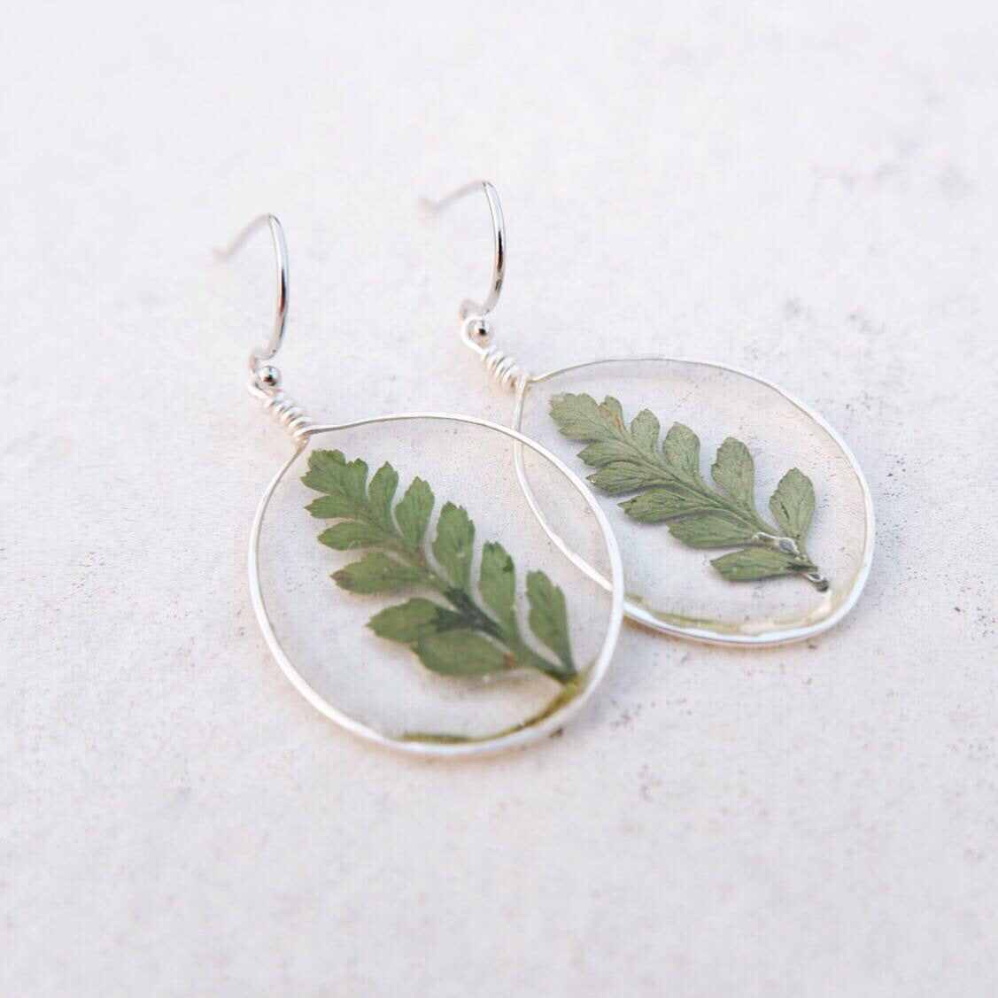 Photo of Pressed Flower Earrings, Resin Earrings, Wolf Tail Fern Earrings, Natural Style Earrings, Drop Earrings, Sterling Silver Hook, Gift For Her