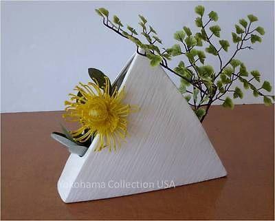 Japanese Ikebana Vase 9h Pyramid Form White Ceramic Flower