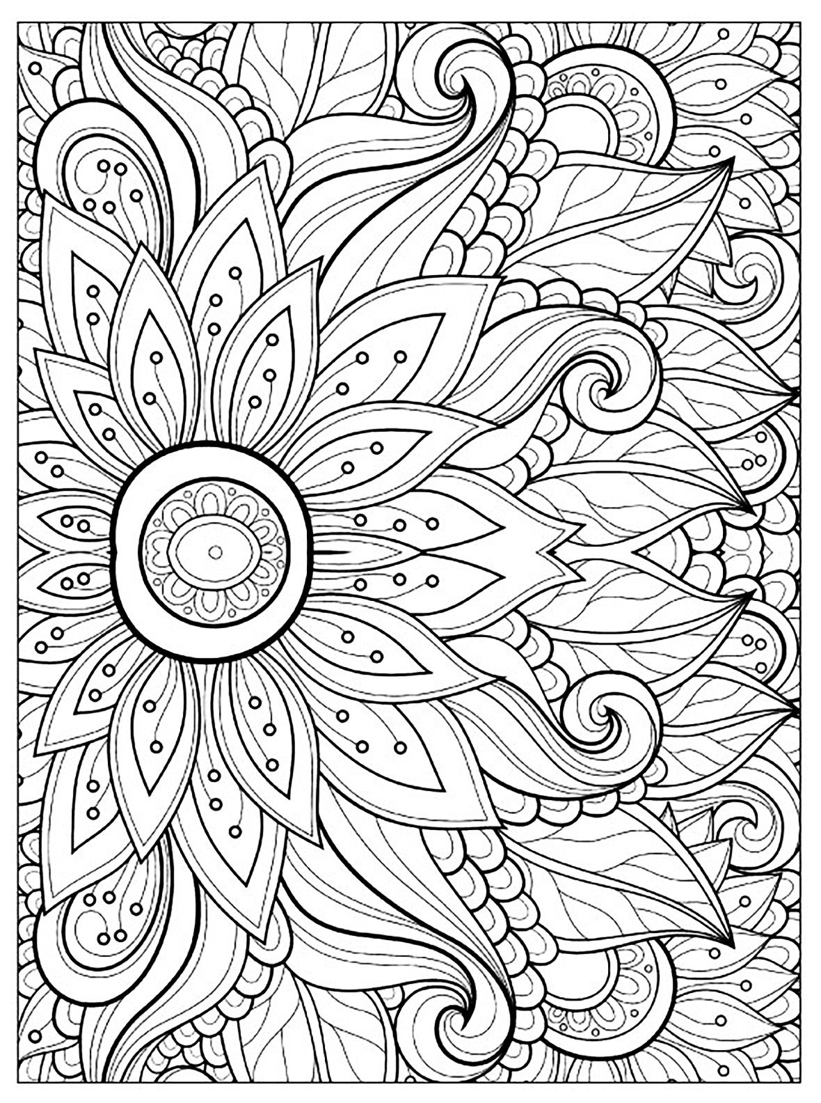 Flower coloring pages for adults - Home Vase Coloring Pages Of Flowers And Flowers Coloring Page Home Book Pages Tropical Flower Flowers Coloring Pages Of Flowers Coloring Book