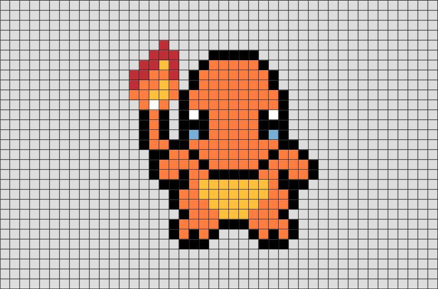 Pokemon Charmander Pixel Art Pixel Art Pokemon Pokemon Cross Stitch Pixel Art