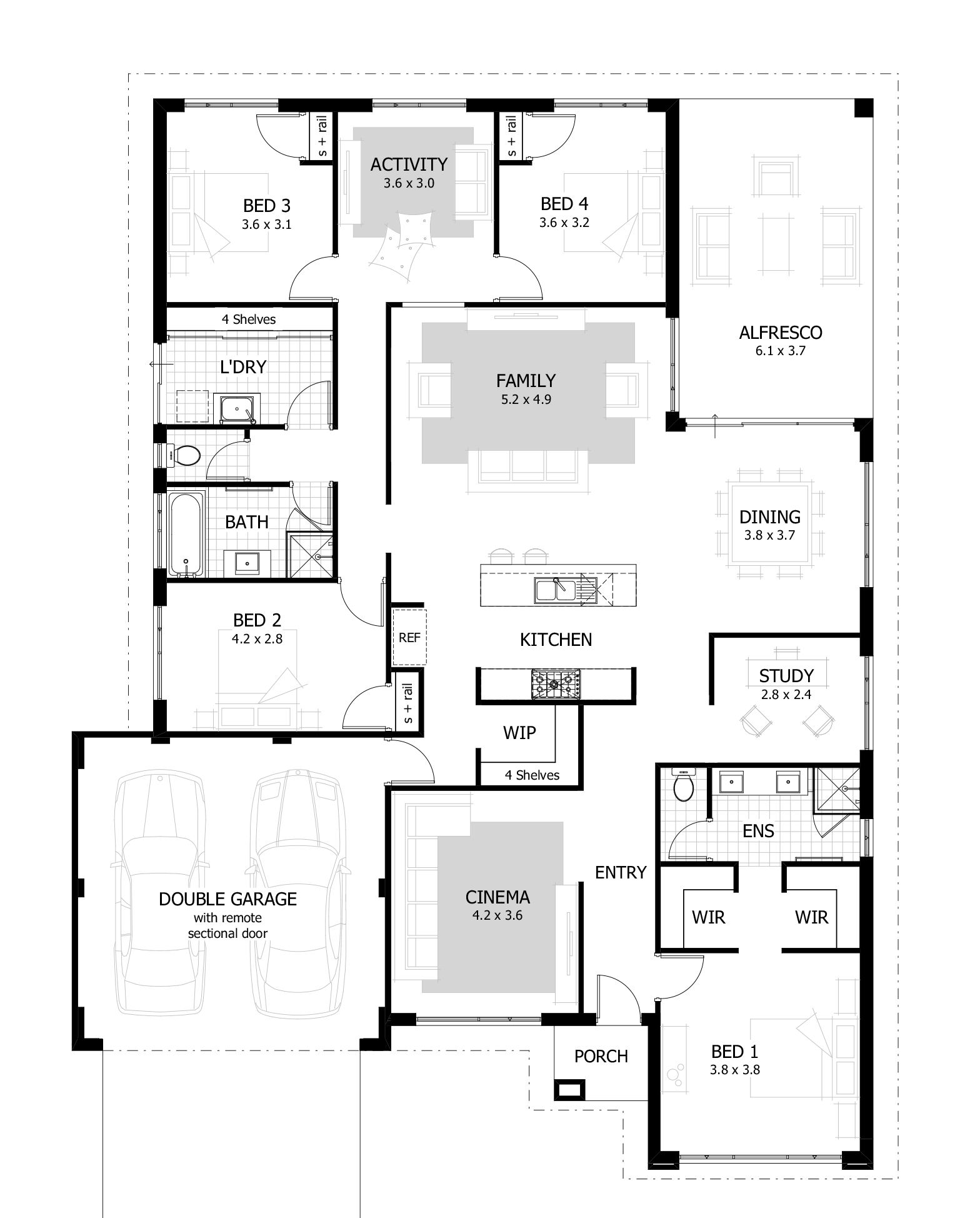 Bedroom House Plans Amp Home Designs Celebration Homes Floor New - 4 bedroom townhouse designs
