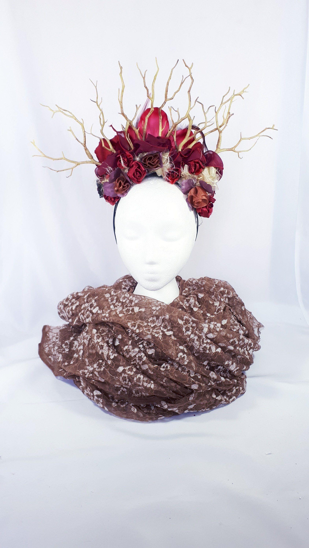 676174a6472f Branch flower gothic headdress, woodland fantasy headpiece. Burgundy Maroon  Wine red. Two in one reversible flower crown tiara halo. by VerdessaFairy  on ...