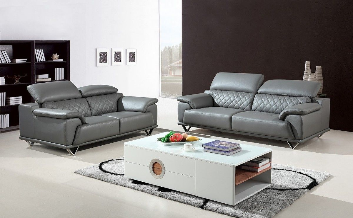 Divani Casa Wolford Modern Grey Leather Sofa Set Stylish Design Furniture Sofa Set Modern Grey Leather Sofa Grey Leather Sofa