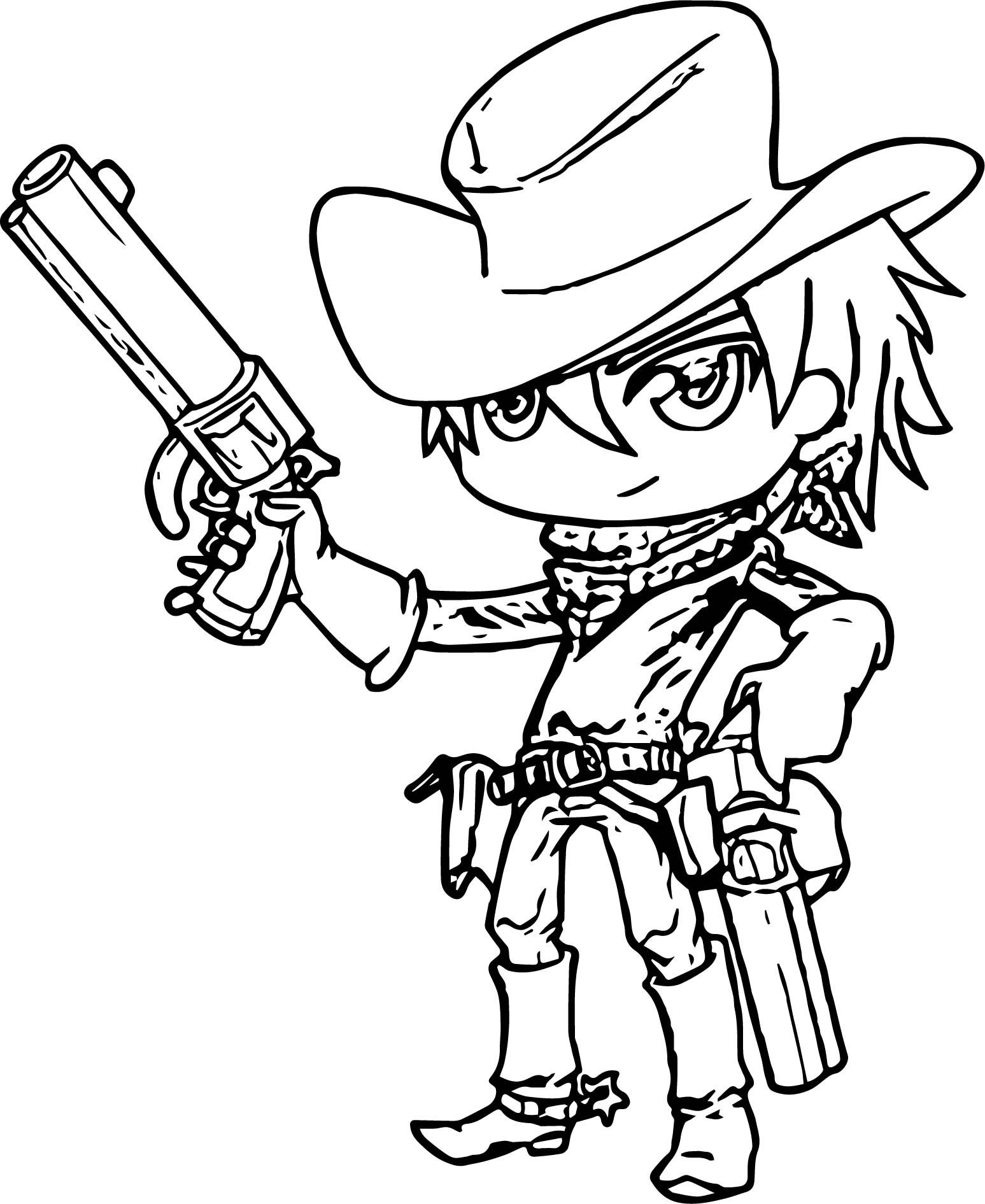 awesome Manga Cute Cowboy Cute Cowboy Coloring Page (With ...