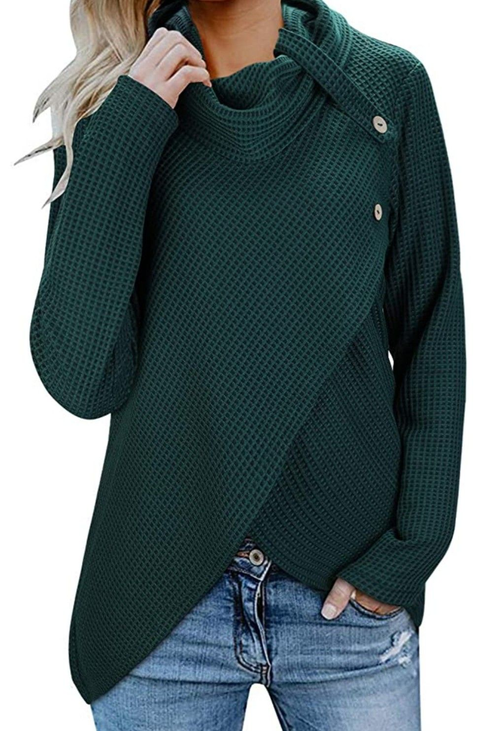 AMCLOS Womens Cowl Neck Button Tops Long Sleeve Tunic Casual Plaid Sweatshirts Pullover