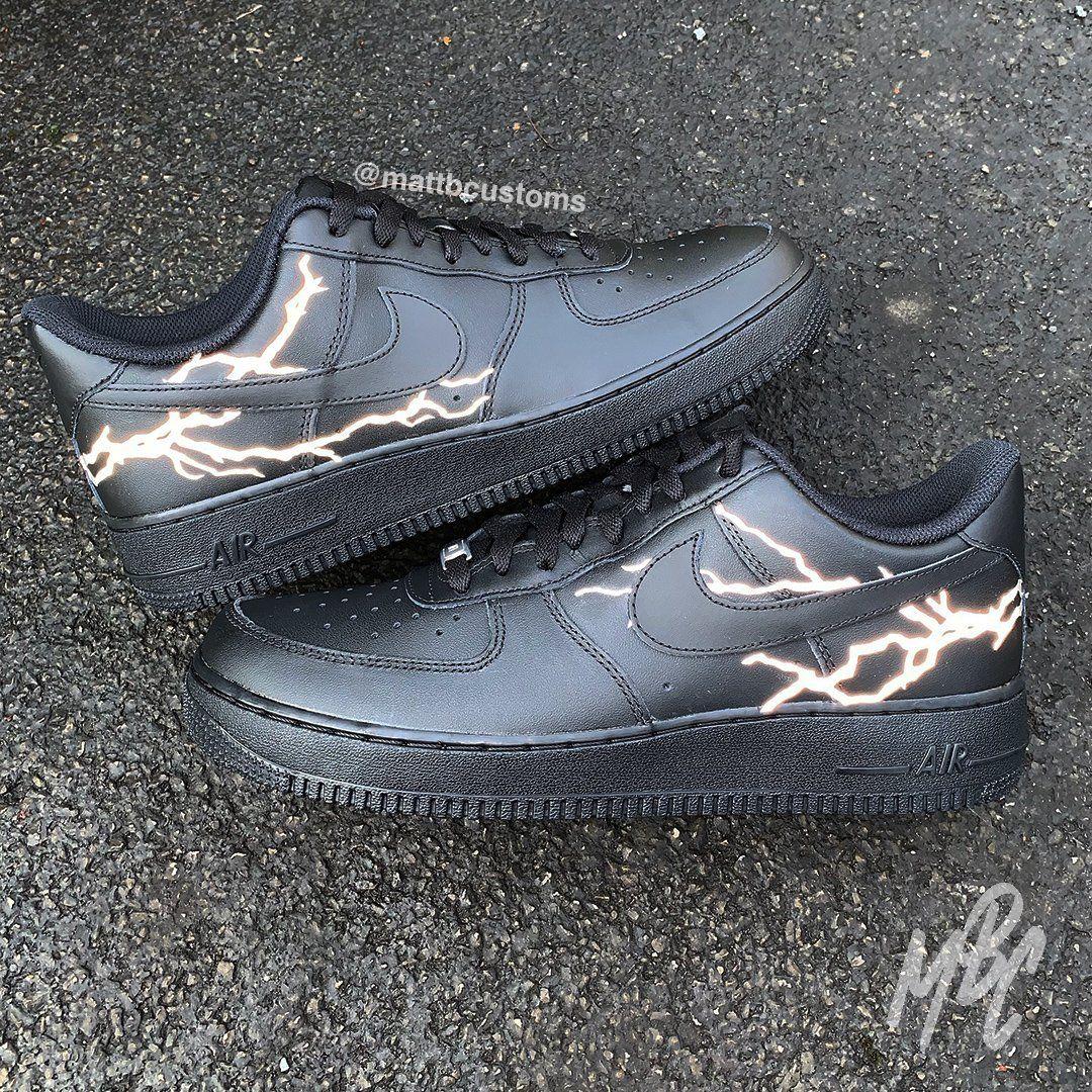 Custom Nike Air Force 1 With Reflective Grey Lightning