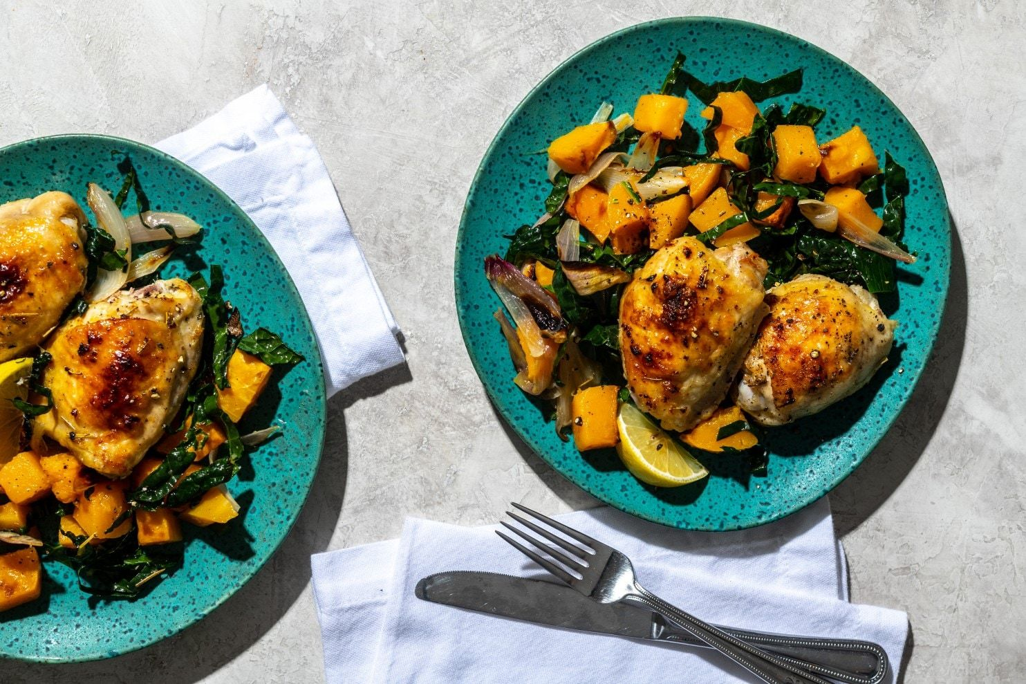 Roasted Chicken With Butternut Squash and Kale #sheetpansuppers