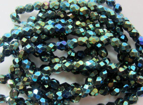 Czech Glass Fire Polish Bead Blue and Green by gypsybeadpeddler