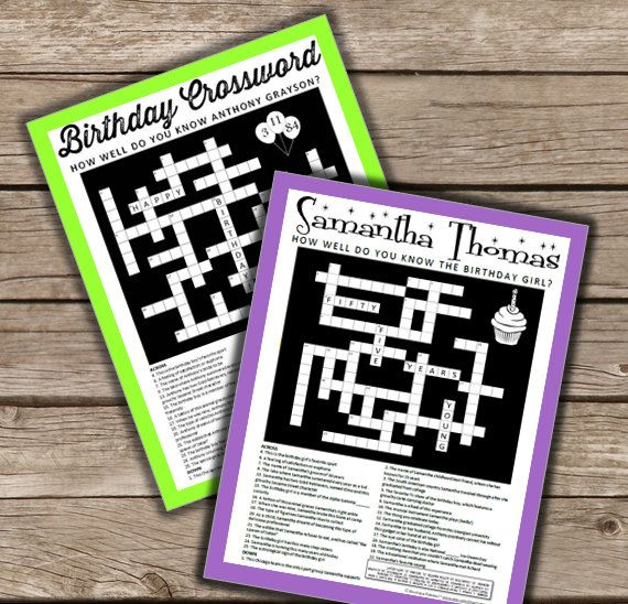 Birthday Crossword Personalized TO you and BY you. Unique Party Idea. Completely customized puzzle card to celebrate someone special.