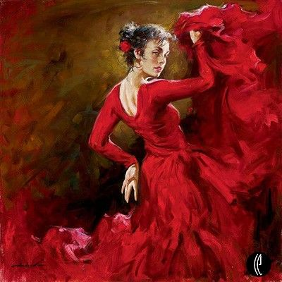 CRIMSON - a deep red color, Crimson Dancer is a giclee by artist Andrew Atroshenko