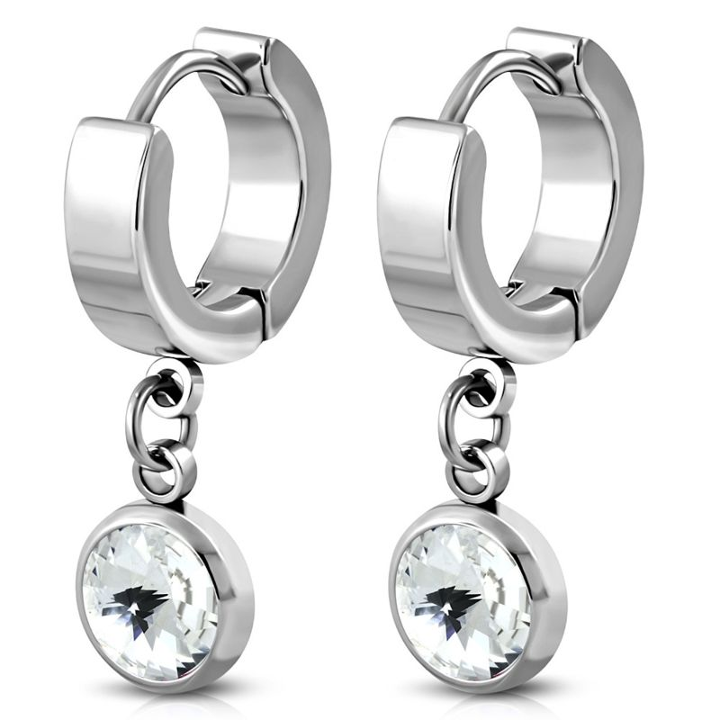 goede verkoop nieuwste ontwerp goedkoop worden Zilverkleurige Oorbellen hangers edelstaal met zirkonia ...