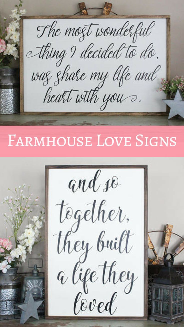 Beautiful, Rustic Farmhouse Love Quote Signs | Perfect For Wedding Gift,  Anniversary, Or Valentineu0027s Day | Shabby Chic Home Decor | The Most Wonderu2026