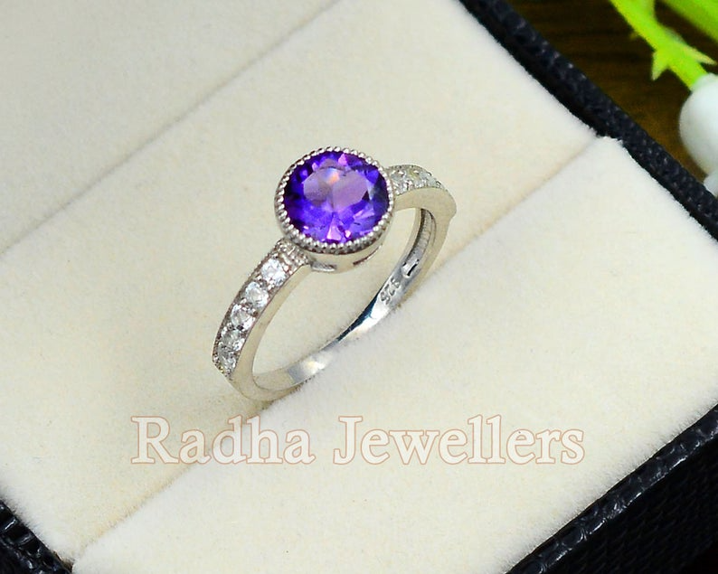 Natural Amethyst 925 Sterling Silver,Amethyst engagement ring,Ring,women gift ring,anniversary ring,Gift for her Ring