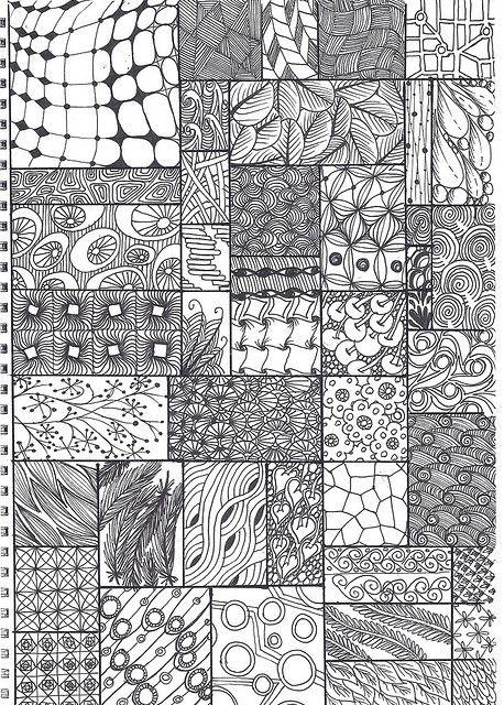 Zentangle Pattern Sheet Zentangle Patterns Tangle Art