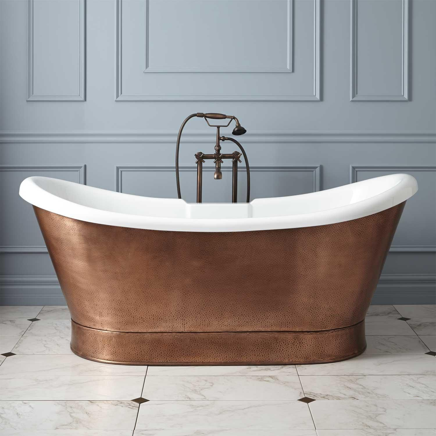 "69"" Rosalind Acrylic Hammered Copper Skirted Tub"