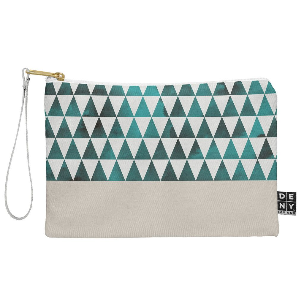 72f0dbcbcd53c Georgiana Paraschiv Teal Triangles Pouch