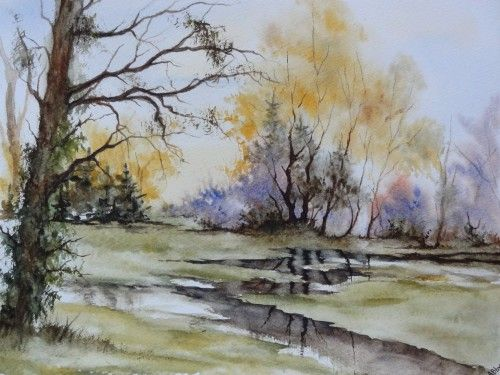Aquarelle Paysage Abby Arbres Inondations Reflets Pluie Campagne