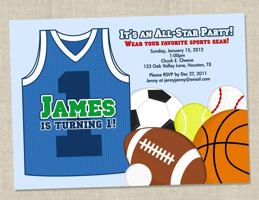 Sports Birthday Party Invitations Baseball Basketball Football – Sport Birthday Invitations