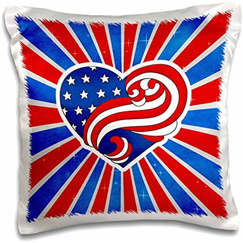 Doreen Erhardt Patriotic Red White And Blue American Flag Heart With Sunburst 16x16 Inch Pillow Case Pc 214272 1
