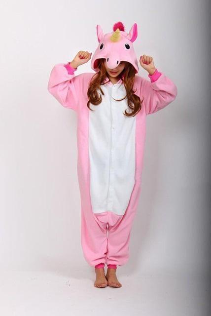 Adult Unisex Pajamas Cartoon Animal Halloween Cosplay Costume Hoodie Onesie Sleepwear Unicorn Panda Stitch Dinosaur Pikachu