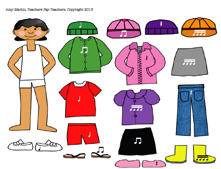 Treble In The Classroom Rhythm From Head To Toe Diy Clothes Videos Paper Doll Template Diy Dye Clothes
